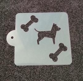 Schmink sjabloon Hond met hondenbot