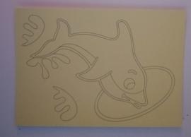 Dolfijn door ring  afmeting (12,5 x 17,5 cm)