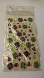 Deco Flowers & Gemstone kleur Groen Bruin