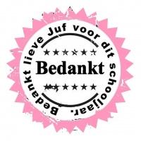 Sticker - Bedankt Juf roze