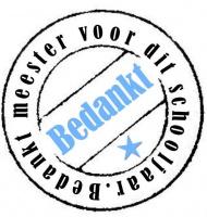 Sticker - Bedankt meester (2) blauw