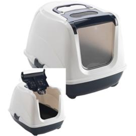 Kattenbak donkerblauw/wit 58x42x45 cm