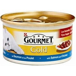 Gourmet Gold fijne hapjes zalm/kip 85gr 24x