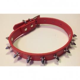 Halsband met spikes rood