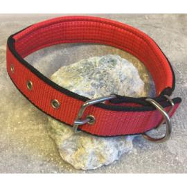 Nylon halsband gevoerd mesh rood L