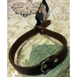 Beeztees leder halsband bruin 42 cm x 16 mm