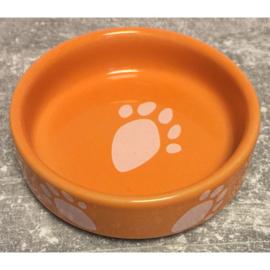 Hamster voerbakje met pootafdruk oranje