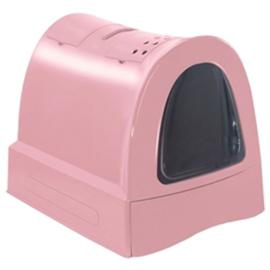 Kattenbak met schuiflade roze