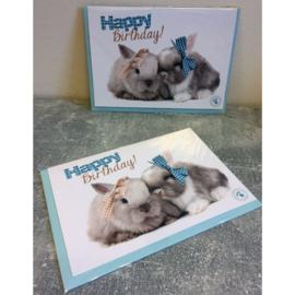 Studio Pets kaart Happy Birthday! konijnen