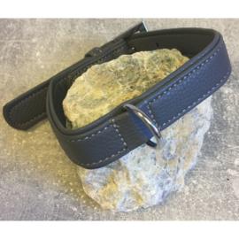 Patent lederen halsband grijs 34-44 x 3 cm