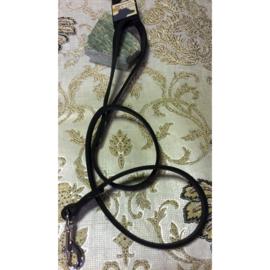 Beeztees looplijn leder zwart 12 mm x 100 cm