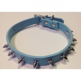 Halsband spikes licht blauw