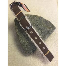 Adori vilt + lamskin halsband bruin/wit XS