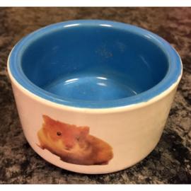 Keramisch voer/drink bakje met hamsterfoto rond
