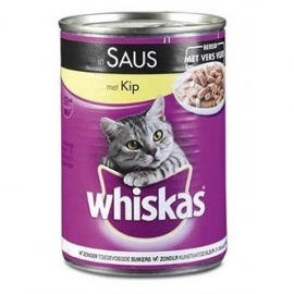 Whiskas blik adult brokjes in saus kip 400gr 12x