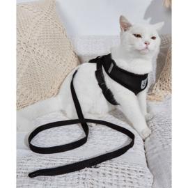 Kattenharnas + lijn zwart