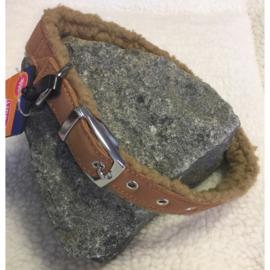 Adori vilt + lamskin halsband bruin/beige XS