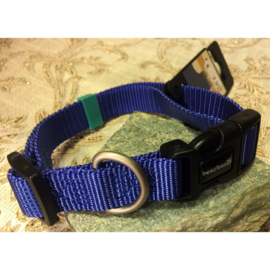 Beeztees nylon halsband uni 35-50 cm x 20 mm blauw