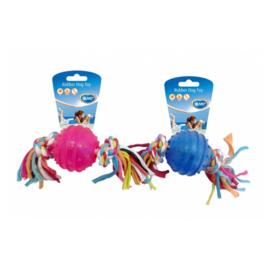 Duvo+ Rubber dog toy – TPR bal met koord blauw