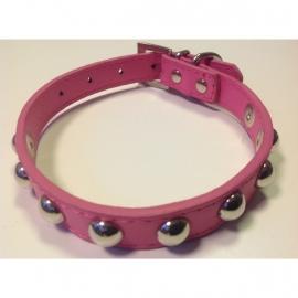 Halsbandje met studs roze