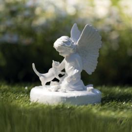 Gedenksteen kat met engel