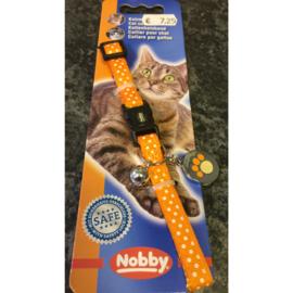 Nobby polka dot kattenhalsbandje met belletje en decal