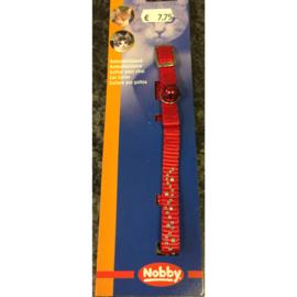 Nobby kattenhalsbandje strass met belletje