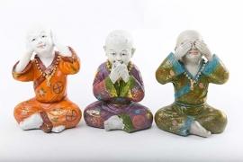 Monniken Horen, Zien en Zwijgen Polystone Color