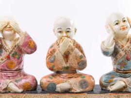 Horen zien zwijgen monnik los kleur