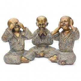 Shaolin Monnik Horen Zien en Zwijgen 15cm Bronskleur
