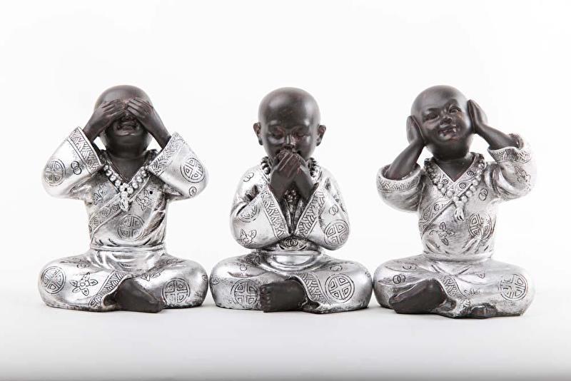 Monniken Horen Zien Zwijgen Zwart-zilver