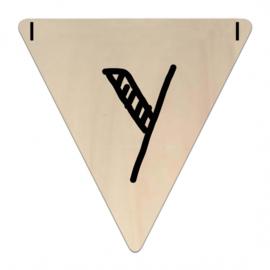 Houten Vlaggetje | Y (letter) (per 5)