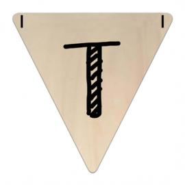 Houten Vlaggetje | T (letter) (per 5)