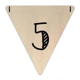 Houten Vlaggetje | 5 (cijfer) (per 5)