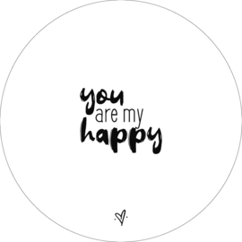 Wandcirkel -  You are my happy (wit)