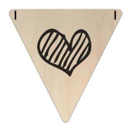 Houten Vlaggetje | Hart (symbool) (per 5)