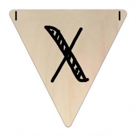 Houten Vlaggetje | X (letter) (per 5)