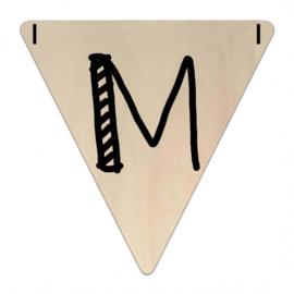 Houten Vlaggetje | M (letter) (per 5)