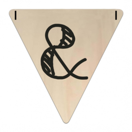 Houten Vlaggetje | &-teken (symbool) (per 5)