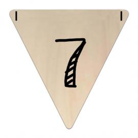 Houten Vlaggetje | 7 (cijfer) (per 5)