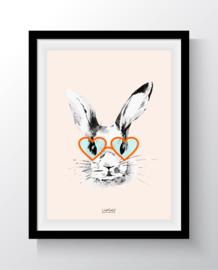 Hipster bunny oranje