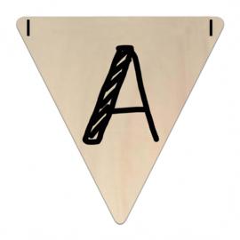 Houten Vlaggetje | A (letter) (per 5)