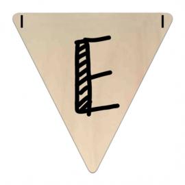 Houten Vlaggetje | E (letter) (per 5)
