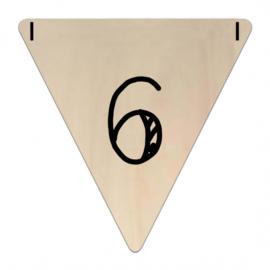 Houten Vlaggetje | 6 (cijfer) (per 5)