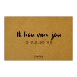 Kadokaart (kraft) | Ik hou van jou, per 10 stuks