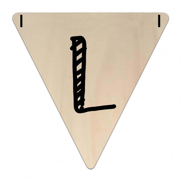 Houten Vlaggetje   L (letter) (per 5)