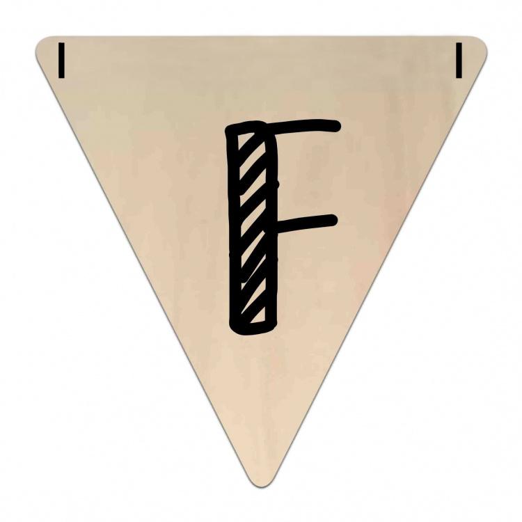 Houten Vlaggetje   F (letter) (per 5)
