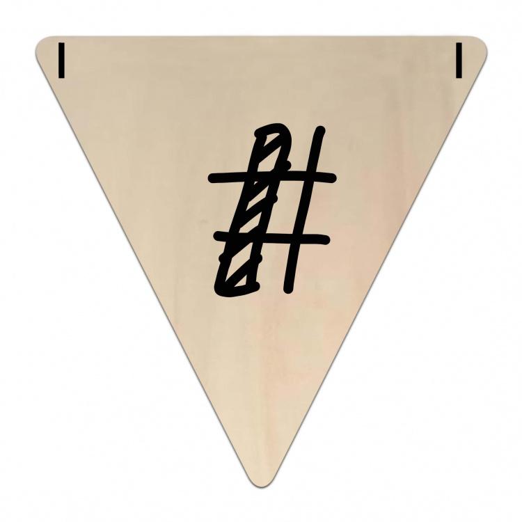 Houten Vlaggetje | Hashtag (symbool) (per 5)