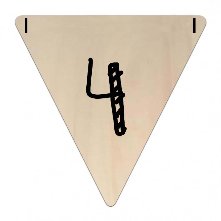 Houten Vlaggetje   4 (cijfer) (per 5)