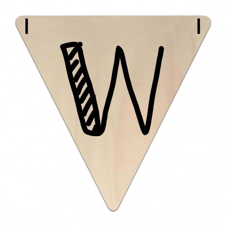 Houten Vlaggetje   W (letter) (per 5)